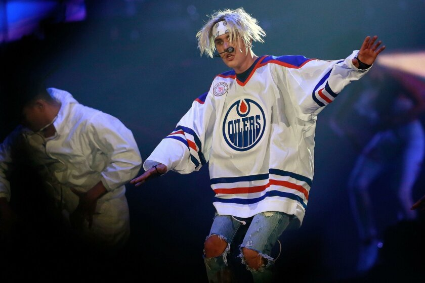 SAN DIEGO, CA-MARCH 29, 2016:   Canadian singer-songwriter Justin Bieber performs at the Valley View Casino Center Tuesday.   (Misael Virgen / San Diego Union-Tribune)