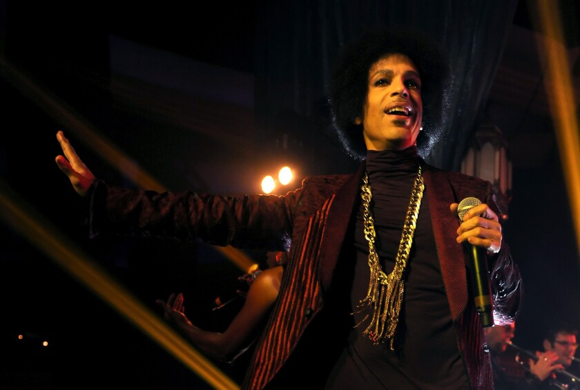 Prince performs at the Hollywood Palladium on March 8, 2014.
