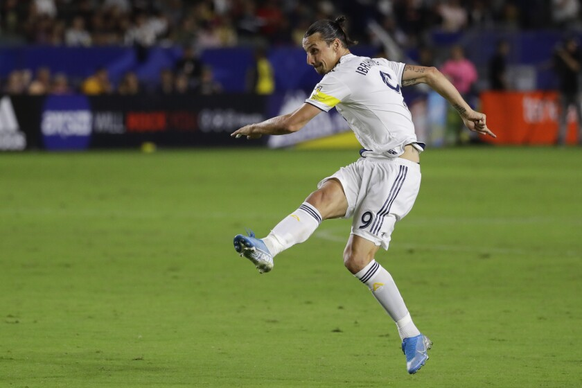 The LA Galaxy's Zlatan Ibrahimovic plays against the Montreal Impact on Sept. 21, 2019.