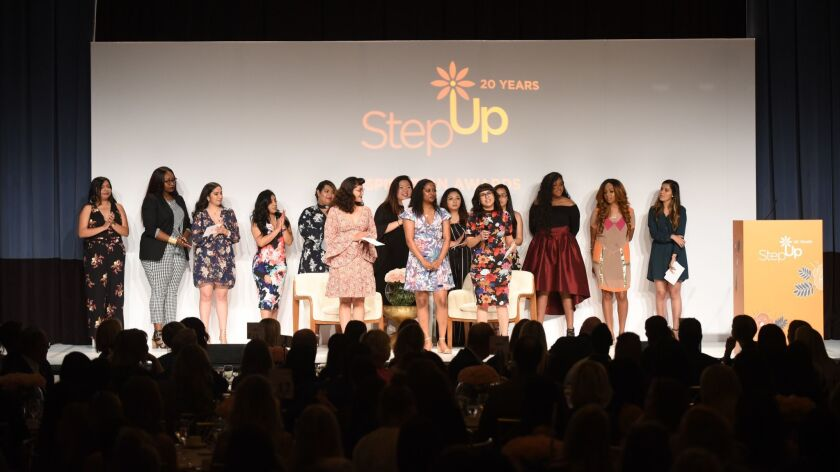 Step Up Alumni speak on stage at the Step Up Inspiration Awards at The Beverly Wilshire, Beverly Hil