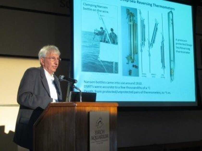 Oceanographer Dean Roemmich discusses primitive and modern technologies that made possible world-wide temperature and salinity profiling at the May 25 Perspectives on Ocean Science Lecture at Birch Aquarium.  Claire Discenza