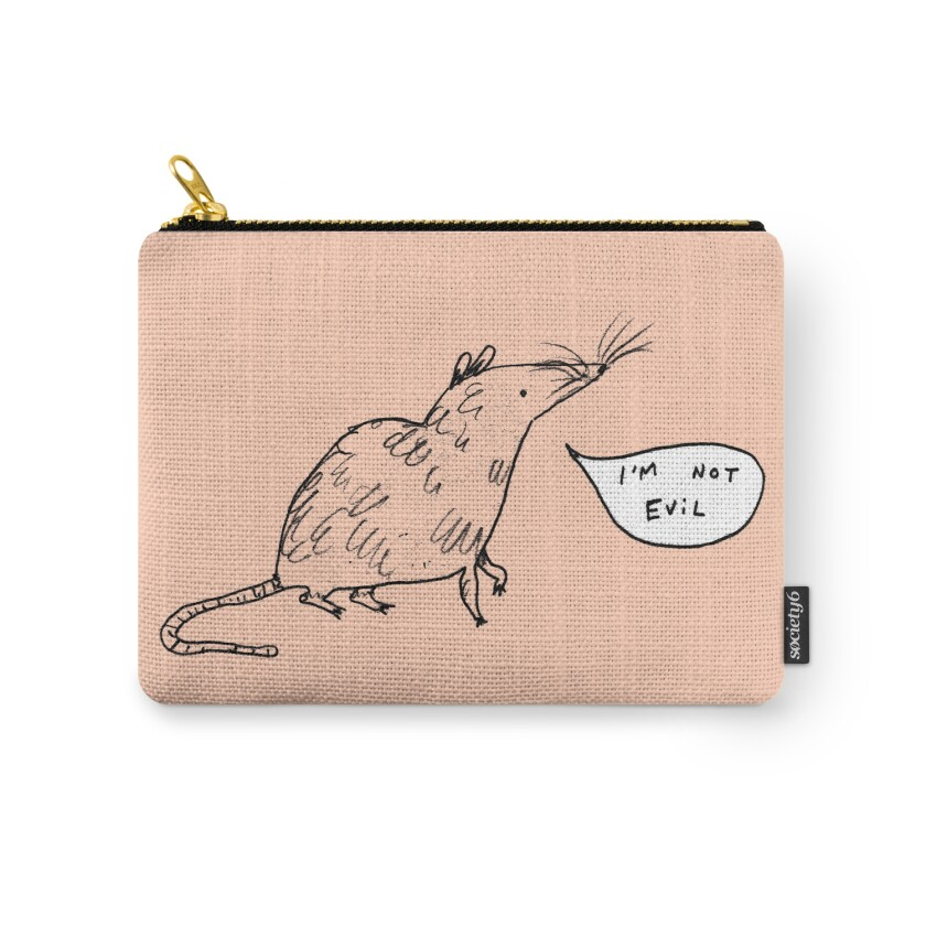 "A zipper pouch with a cartoon rat and an ""I'm not evil"" speech bubble."