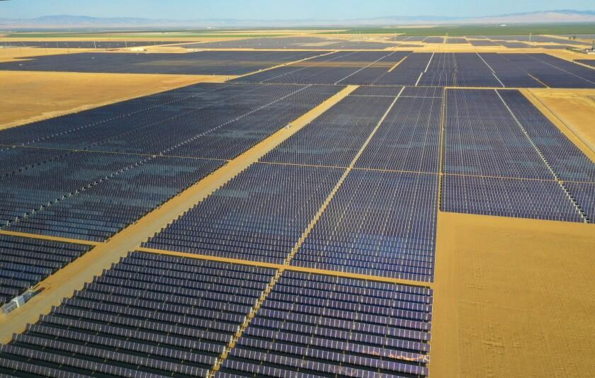 Solar panels on a massive solar farm