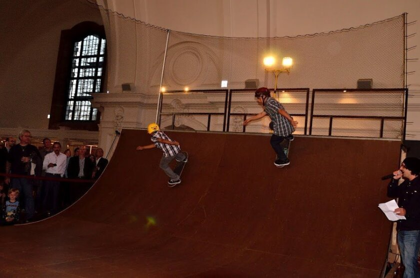 Skateboarders test out the ramp at Balboa Park's Museum of Man. Photo: Dave Roberts
