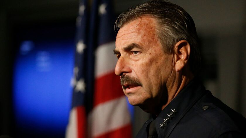 LAPD Police Chief Charlie Beck addresses the media on October 4, 2016.