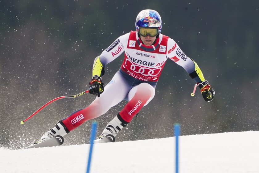 France's Alexis Pinturault competes during the super-G portion of an alpine ski, men's World Cup combined, in Hinterstoder, Austria, Sunday, March 1, 2020. (AP Photo/Giovanni Auletta)