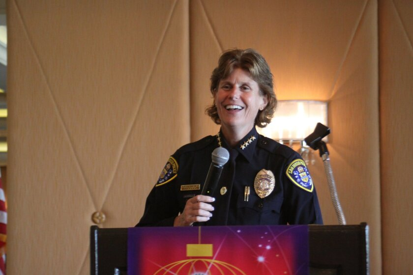 San Diego Police chief Shelley Zimmerman speaks at a rotary club of la Jolla meeting Sept. 30.