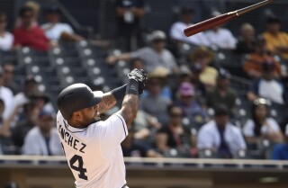 Padres' Hector Sanchez on runaway bat injuring fan