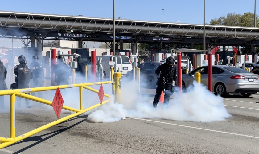 A Customs and Border Protection agent during the drill at the Otay Mesa border crossing on March 31, 2021.