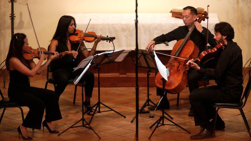 The Lyris Quartet (Alyssa Park, left, Shalini Vijayan, Timothy Loo and Luke Maurer) performs Sunday at First Lutheran Church of Venice.