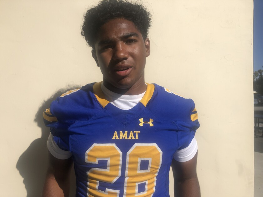 Running back Damien Moore of Bishop Amat is healthy after missing most of last season because of a knee injury.