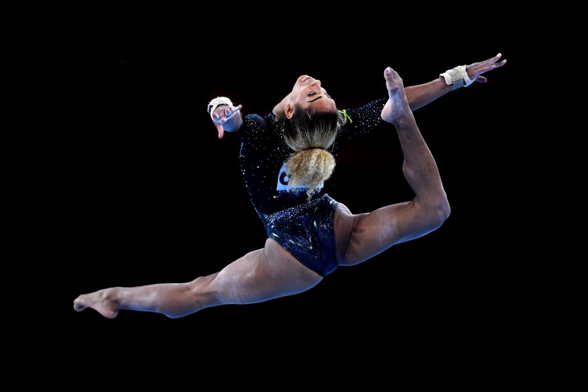 Danusia Francis performs her floor routine during the Artistic Gymnastics Championships in Stuttgart, Germany, in October.