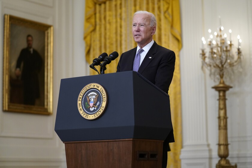 El presidente Joe Biden habla el lunes 17 de mayo de 2021 sobre la distribución de las vacunas