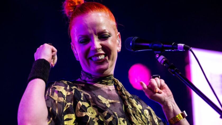 LOS ANGELES, CA - FEBRUARY 03: Garbage frontwoman Shirley Manson and The Girlschool Choir performs a