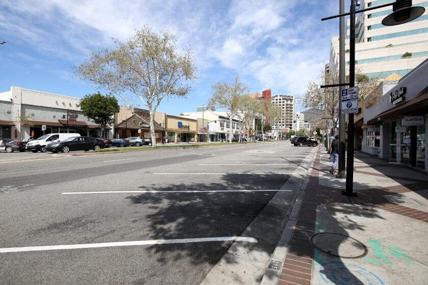 Brand Blvd. in Glendale was empty at noon, when it usually is very busy, due to COVID-19 restrictions on March 18, 2020.