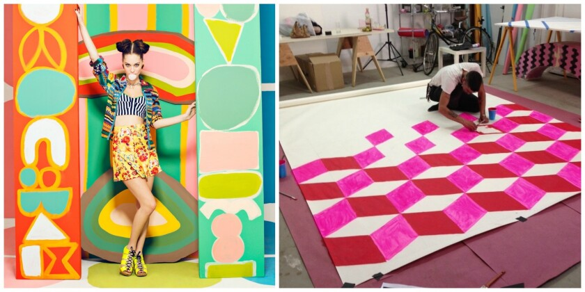 Set designer Adi Goodrich is creating patterned backdrops for holiday portraits at Poketo on Saturday.