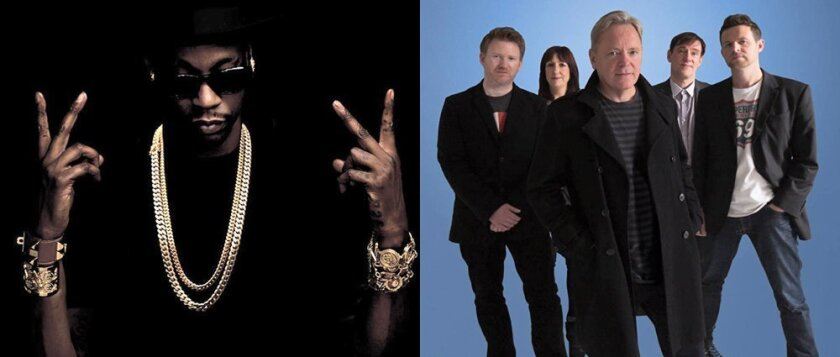 2 Chainz, left, and New Order will perform on the same day, Saturday (April 13 and 20), each weekend at the Coachella Valley Music and Arts Festival in Indio.