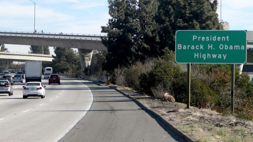 A new sign was unveiled renaming a stretch of the 134 Freeway after President Obama.
