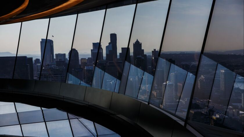 SEATTLE, WASH. -- WEDNESDAY, SEPTEMBER 5, 2018: The newly renovated rotating glass floor in the Spac