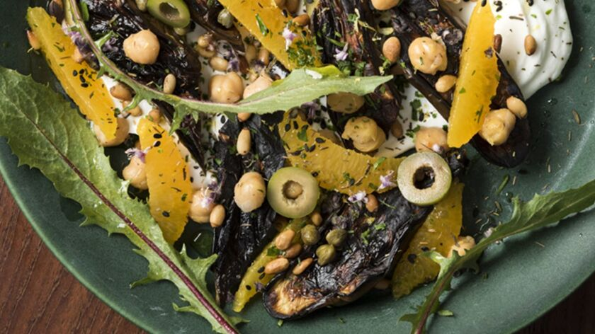 "Charred Eggplant With Chickpeas, Olives and Za'atar-Spiked Yogurt, from the ""So Good"" cookbook."