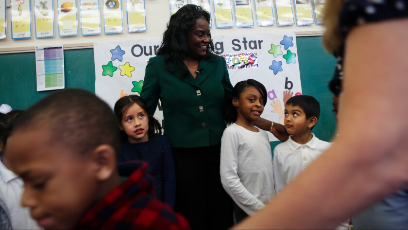 L.A. Unified Supt. Michelle King with students at Century Park Elementary School in January.