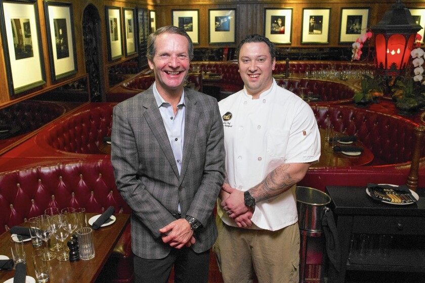 General manager and operating partner Jordan Otterbein, left, and chef Jonathan Blackford of A Restaurant in Newport Beach.