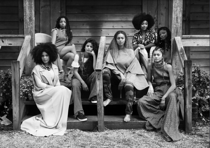 "Beyoncé on the New Orleans set of ""Lemonade"" with some of the circle of women featured in the one-hour film that debuted on HBO."