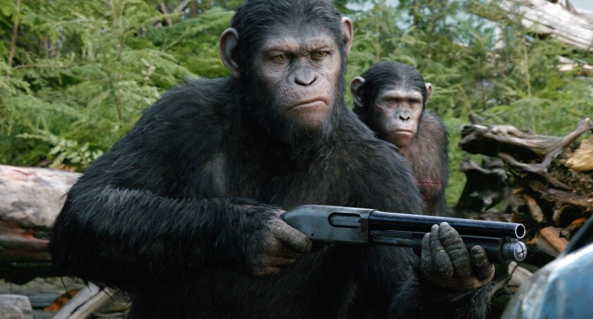 """Andy Serkis as Caesar in a scene from the film """"Dawn of the Planet of the Apes."""""""