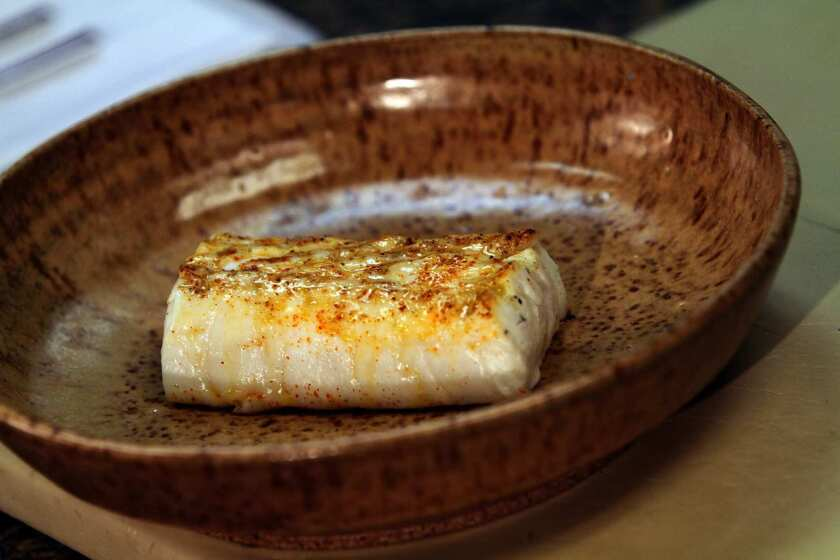 Grilled brined halibut from Chef Michael Cimarusti, chef owner of Providence.