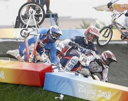 U.S, rider Kyle Bennett (rear) crashes in a quarterfinal heat.