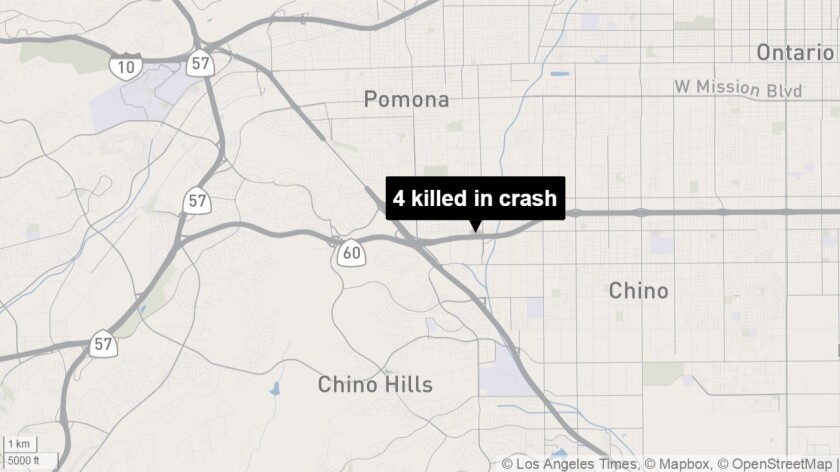 Four killed in crash along the 60 Freeway