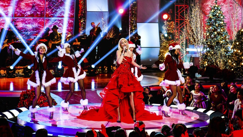 """Gwen Stefani in """"A Home for the Holidays: The 20th Anniversary"""" on CBS."""