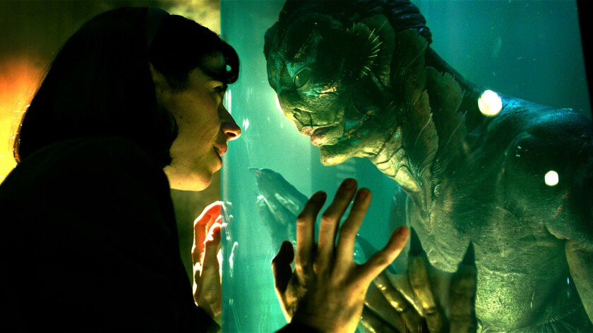 "Sally Hawkins and Doug Jones in the film ""The Shape of Water."""