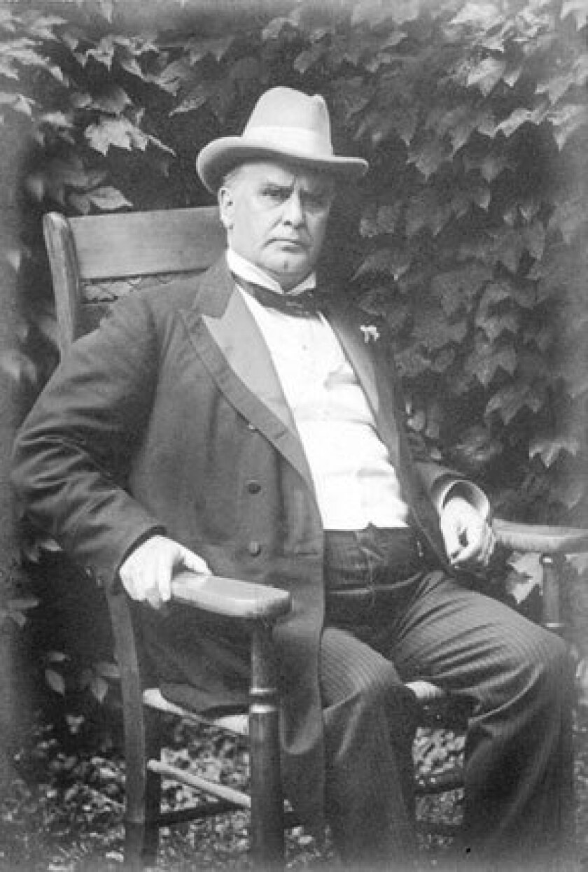 President William McKinley sits in his backyard at his home in Niles, Ohio.
