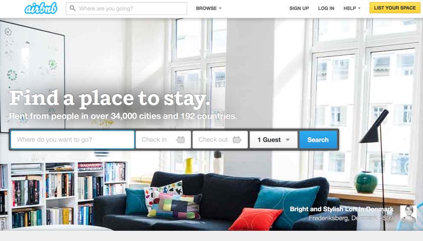 A shot from Airbnb's website.