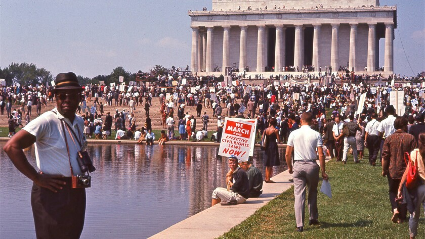 "A crowd gathers at the Lincoln Memorial for the March on Washington in the documentary ""I Am Not Your Negro."""