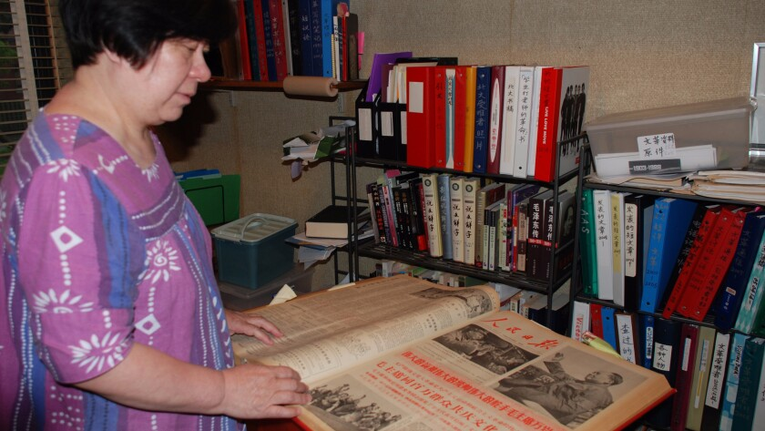 Wang Youqin in her Chicago home, looking through her collection of materials on the Cultural Revolution, including the People's Daily, the Chinese Communist Party mouthpiece that chronicled the purges.