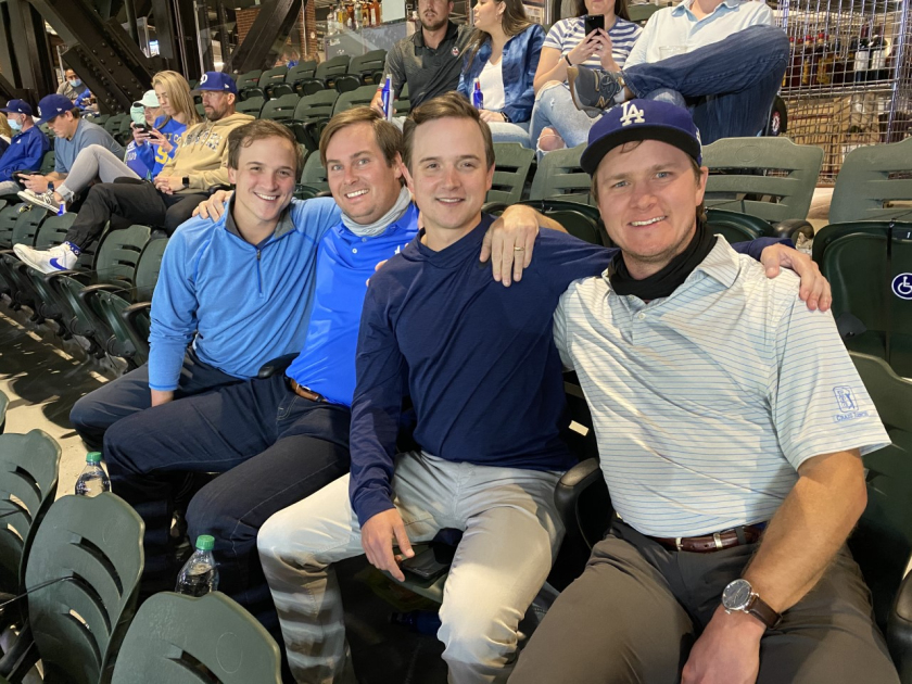 Clayton Kershaw's friends attend Game 4 of the NLCS at Globe Life Field in Arlington, Texas.