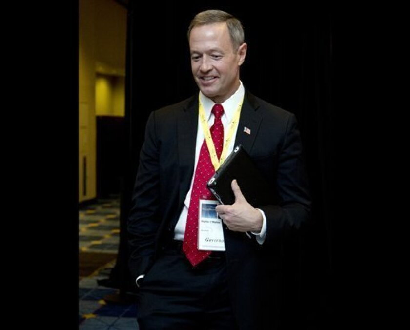 FILE - Maryland Gov. Martin O'Malley attends the National Governors Association 2013 Winter Meeting in Washington, in this Feb. 24, 2013 file photo. Gov. Martin O'Malley, a Democrat, has been pushing for the change since his first year in office. A repeal bill has already been approved by the state