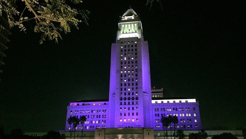 Purple for Prince: L.A. City Hall