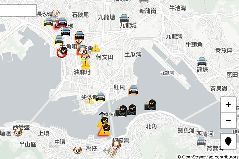 HKmap.live allows users to report police locations, use of tear gas and other details that are added to a regularly updated map.
