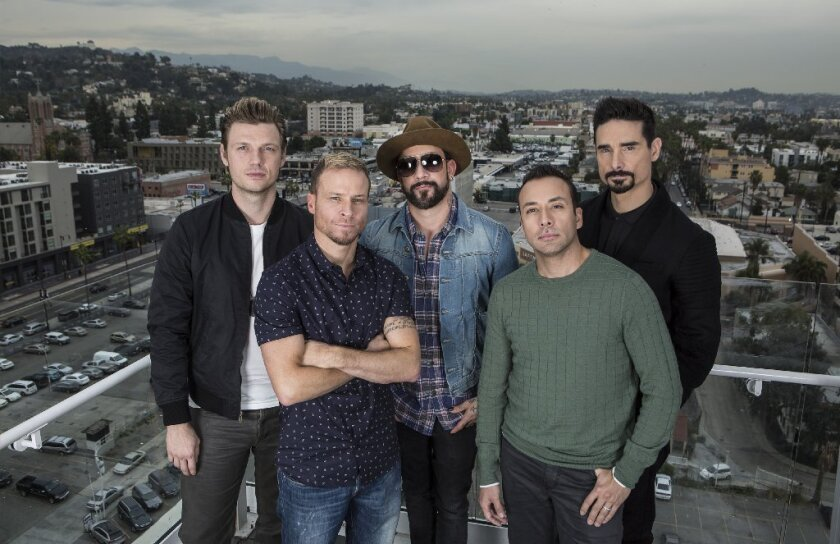 The Backstreet Boys, from left, Nick Carter, Brian Littrell, A.J. McLean, Howie Dorough and Kevin Richardson, stand for a portrait at the W Hotel.