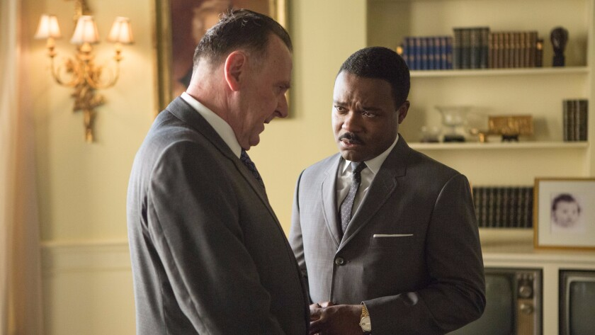 "Tom Wilkinson, left, as President Lyndon B. Johnson and David Oyelowo as Dr. Martin Luther King, Jr., in Ava DuVernay's ""Selma."""