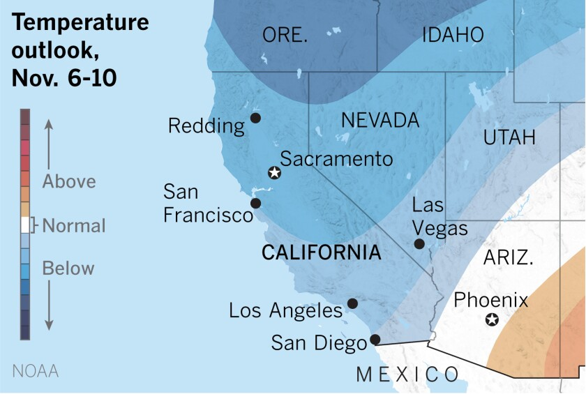 A map of California and adjacent states shows below-normal temperatures are expected.