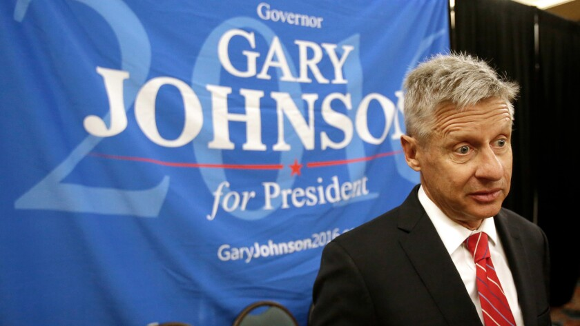 Presidential candidate Gary Johnson speaks at the National Libertarian Party Convention in Orlando, Fla. on May 27.
