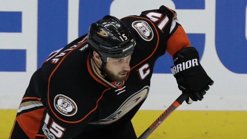FILE - In this May 12, 2017, file photo, Anaheim Ducks center Ryan Getzlaf shoots against the Nashvi