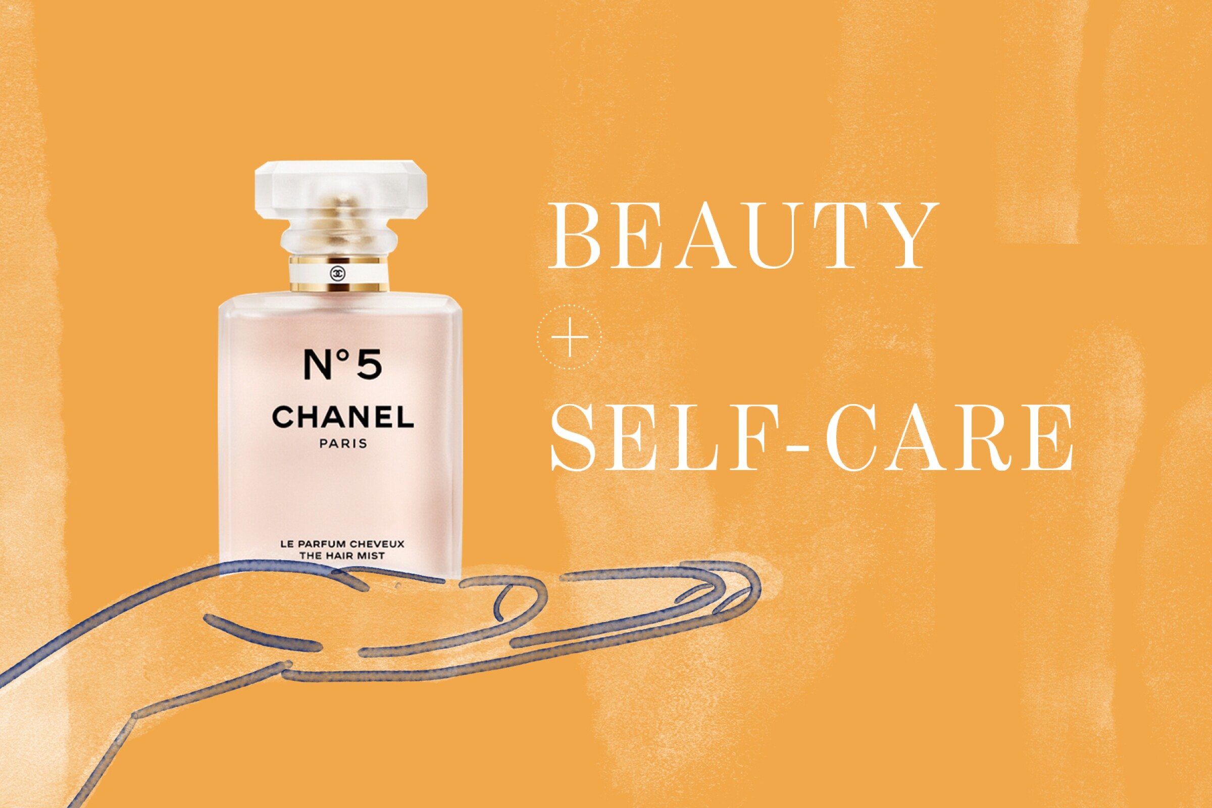 A photo illustration featuring a Chanel No. 5 bottle.