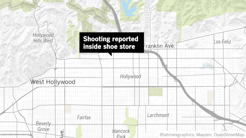 A shooting was reported at the Shoe Palace near Hollywood Boulevard and Highland Avenue on Tuesday a