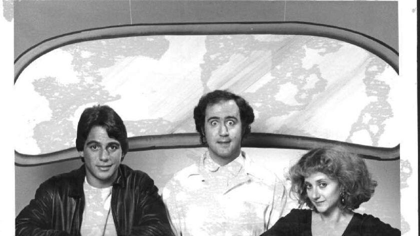 Tony Danza (Tony Banta) from left, Andy Kaufman (Latka Gravas) and Carol Kane (Simka Gravas) in the