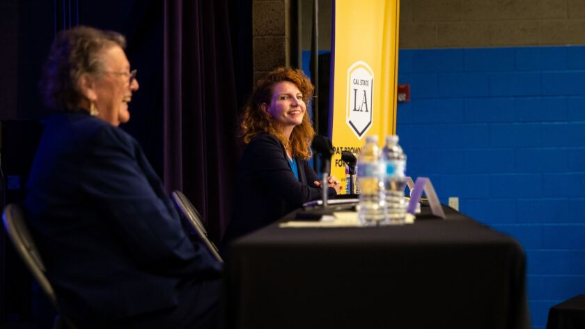 MAYWOOD, CALIF. - APRIL 11: A campaign forum between L.A. Board of Education candidates Jackie Goldb